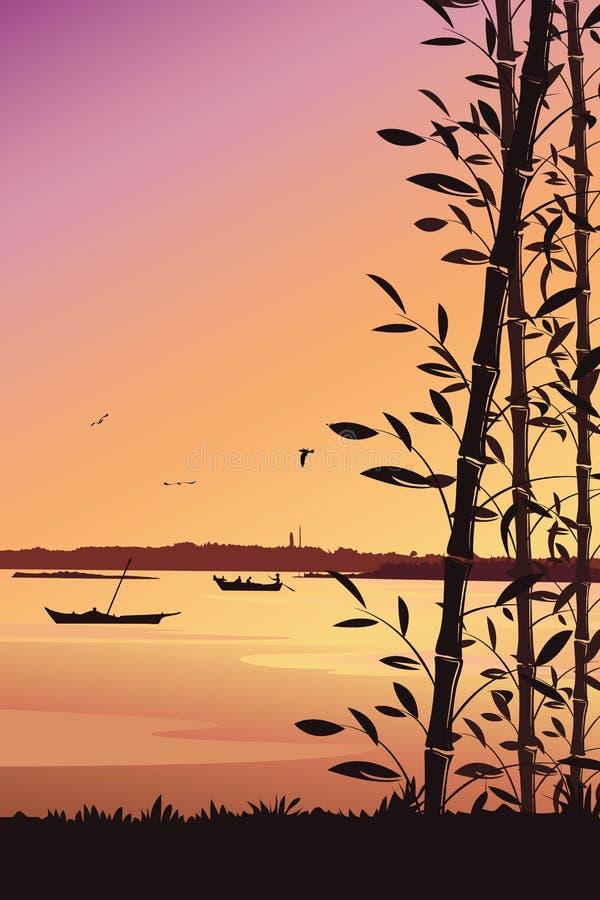 Scenerii mobilna tapeta, natury tło z bambusowym i rzecznym portreta widokiem ilustracji