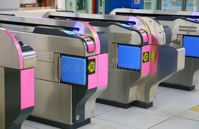 Scenery of automatic ticket inspection machine of Japanese railroad stock image