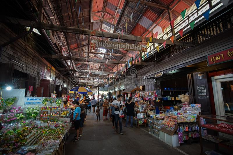 Scenery of Baan Mai old market in Chachoengsao province, Thailand stock photos