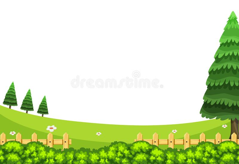 Scenery background of green field at daytime. Illustration royalty free illustration