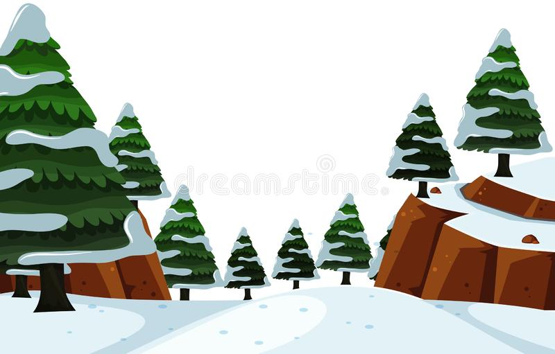 Scenery background of snow on top of trees. Illustration vector illustration