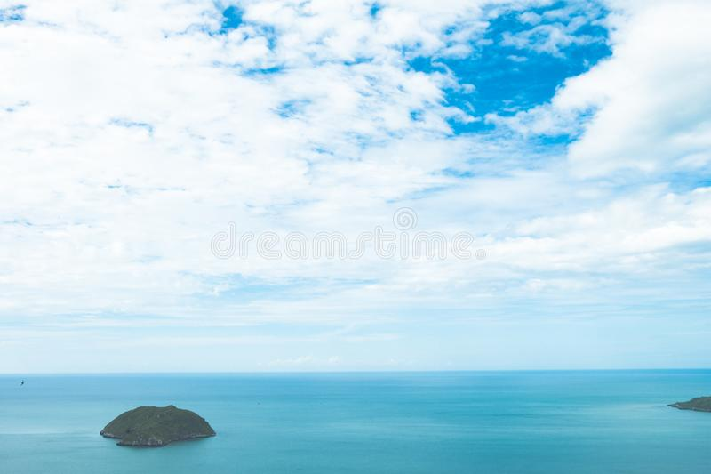 Scenery of beach and island from Khao Lom Muak viewpoint Prachuap khiri khan Thailand is just a couple of hours drive from Bangkok stock image