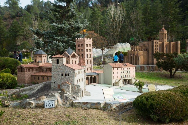 Scenery with building models in Catalunya en Miniatura Park. BARCELONA, SPAIN - JANUARY 31, 2016: Sunny scenery with landmark building models exhibitions in royalty free stock photos