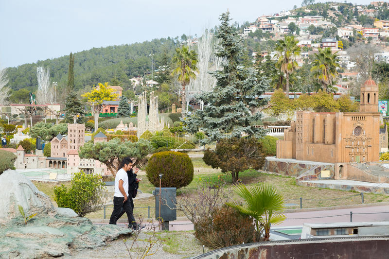 Scenery with building models in Catalunya en Miniatura Park. BARCELONA, SPAIN - JANUARY 31, 2016: Sunny scenery with landmark building models exhibitions in stock images