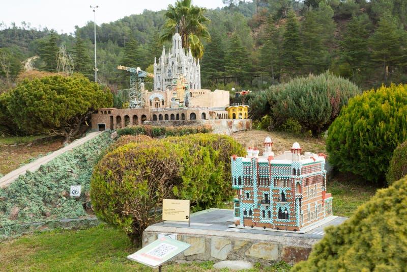 Scenery with building models in Catalunya en Miniatura Park. BARCELONA, SPAIN - JANUARY 31, 2016: Sunny scenery with landmark building models exhibitions in royalty free stock photo