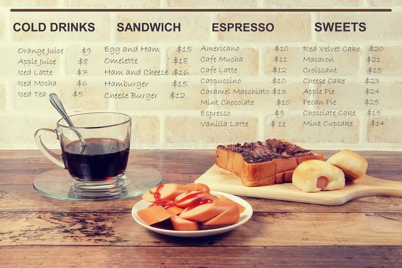 Scenery of cafeteria menu. Picture of cafeteria menu in hand writing on light brown background royalty free stock photos