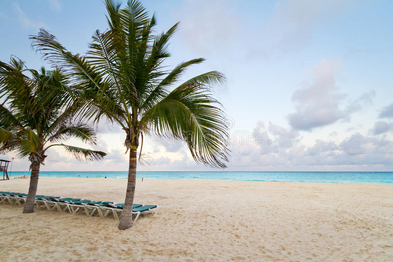 Scenery of Caribbean beach at sunrise royalty free stock photo