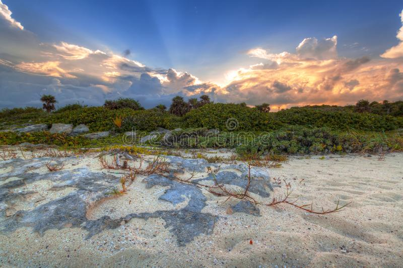 Scenery of Caribbean Sea coast near Playa del Carmen at sunset, Mexico. Beach sunlight tropical travel sunrise hdr destination sand summer paradise wave stock photography
