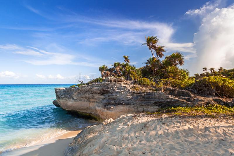 Scenery of Caribbean Sea coast near Playa del Carmen at sunset, Mexico. Beach sunlight tropical travel sunrise hdr destination sand summer paradise wave stock images