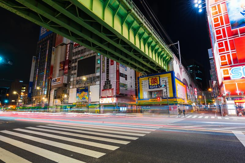 Scenery of Electric Town`s main junction in Akihabara at night, Tokyo, Japan. Akihabara, JAPAN - March 25, 2019: Scenery of Electric Town`s main junction in royalty free stock photo