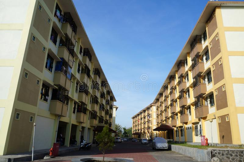 Scenery four flat building area outside view stock image