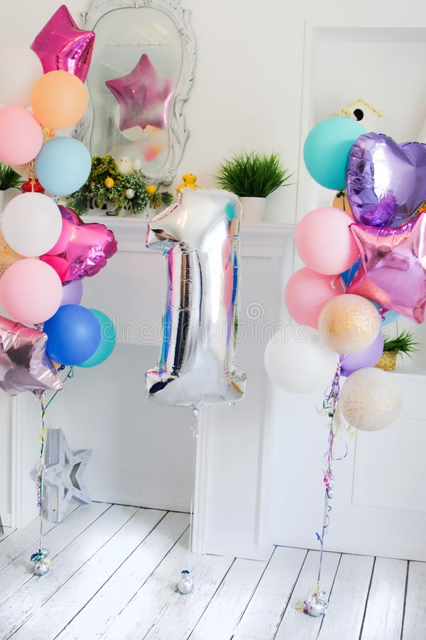 Free Scenery From Balloons Of Different Color And A Silver Sphere In The Form Of Figure One Royalty Free Stock Images - 132890469