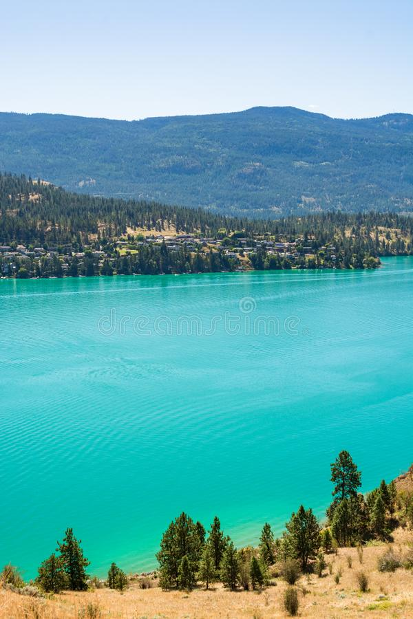 Scenery with great view on Kalamaka lake and Rocky mountain. In British Columbia, Canada royalty free stock image
