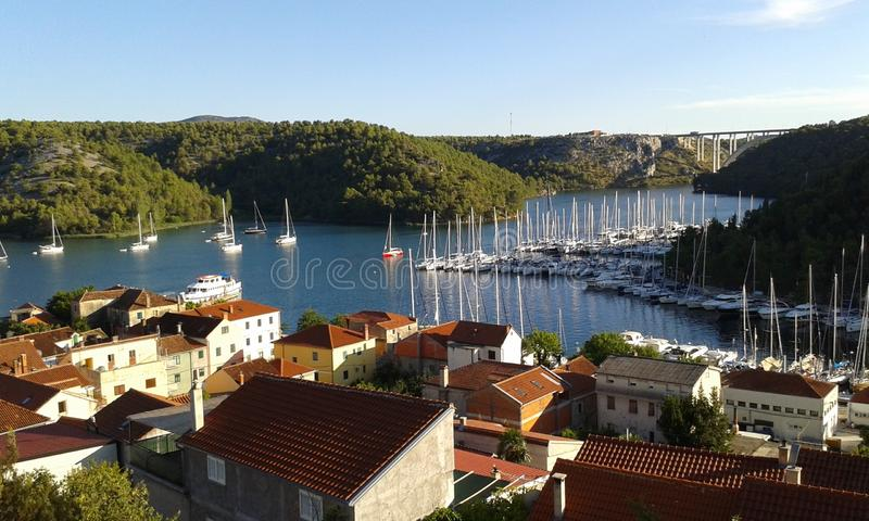 Harbor of Skradin royalty free stock image