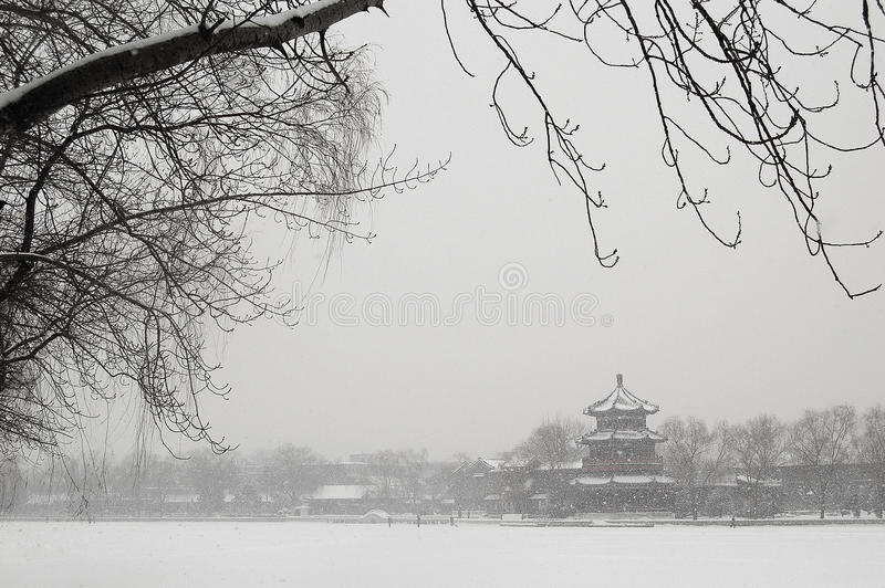 Scenery in houhai after snow