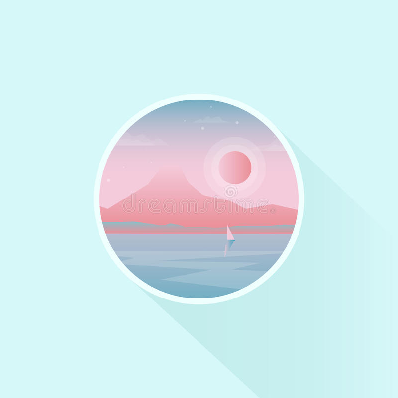 Scenery icon or badge design with lone mountain royalty free illustration