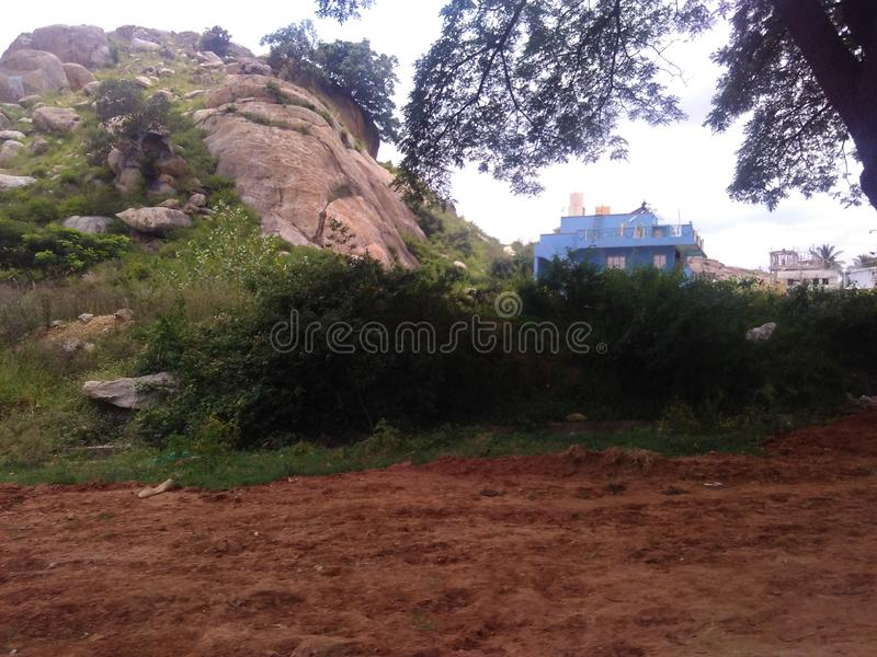 Mother nature view of Indian rocky village. stock photography