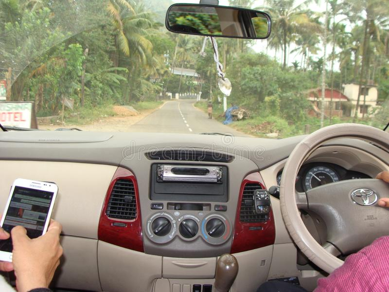Highway drive in Kerala. Scenery Of Indian forest and Landscapes in real life royalty free stock photos