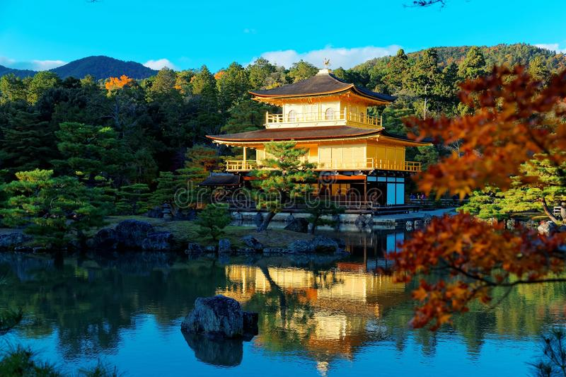Scenery of Kinkaku-ji, a famous Zen Buddhist temple in Kyoto Japan. With view of Golden Pavilion glittering under blue clear sky & beautiful reflections on royalty free stock photography