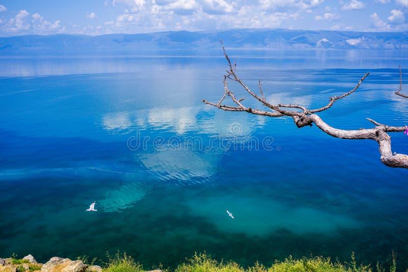 Scenery of the lake Baikal, Olkhon Island, Irkutsk, Siberian, Russia. beautiful views of blue lake. Scenery of the lake Baikal, Olkhon Island, Irkutsk, Siberian stock images