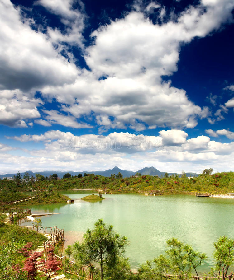 Scenery landscape near Lijiang City stock photo