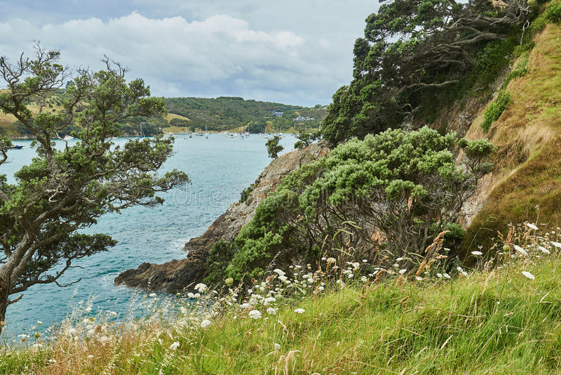 Scenery and landscapes across land and water in Waiheke Island N stock image