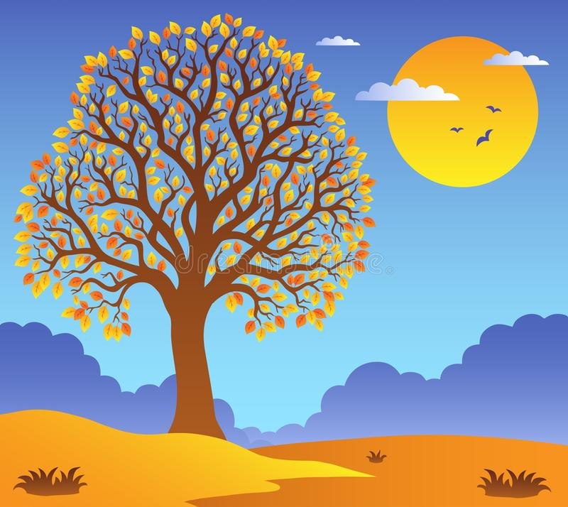 Scenery with leafy tree 2 vector illustration