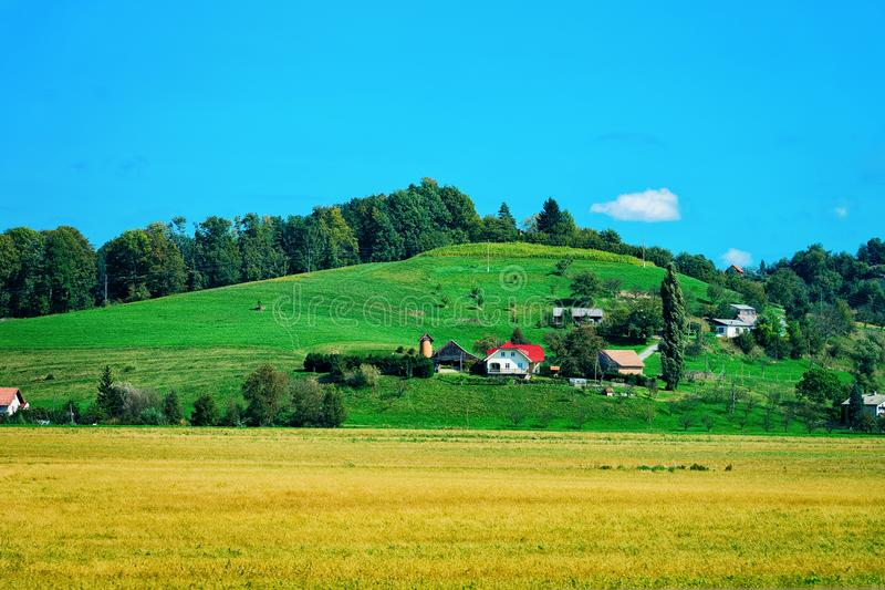Scenery of Maribor and hills Lower Styria stock photo