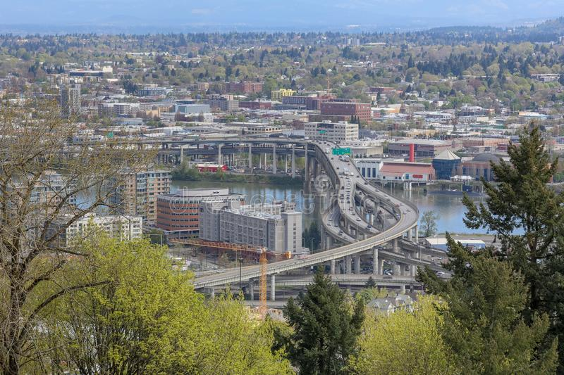 Scenery of Marquam Bridge over Willamette River in Portland city stock images