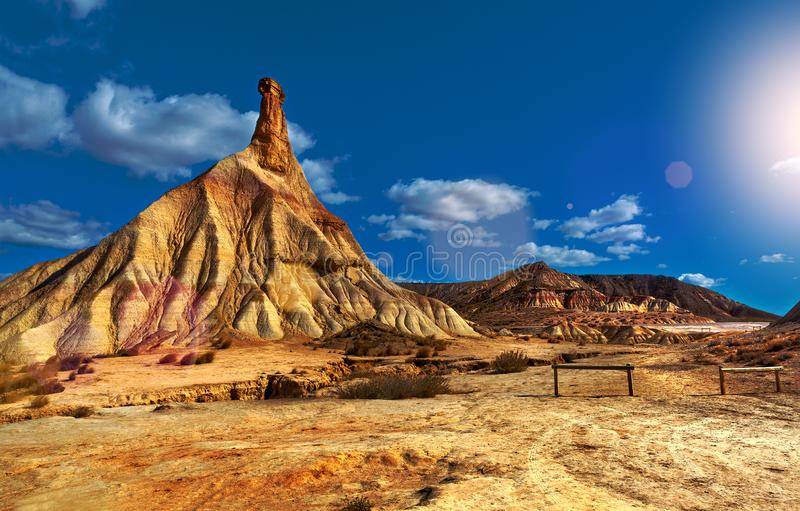 Scenery natural park.Hill and dry ground stock photo