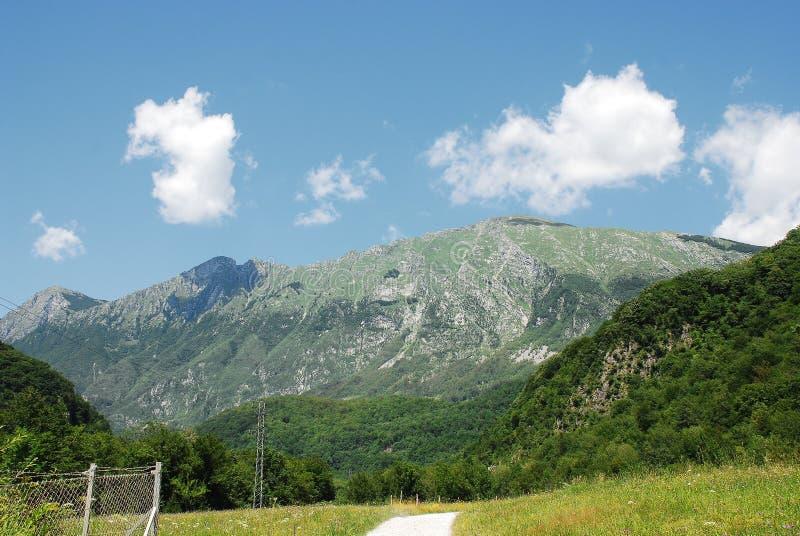 Scenery Near Kobarid. The Alpine landscape near the Slovenian village of Kobarid in the Littoral region stock images