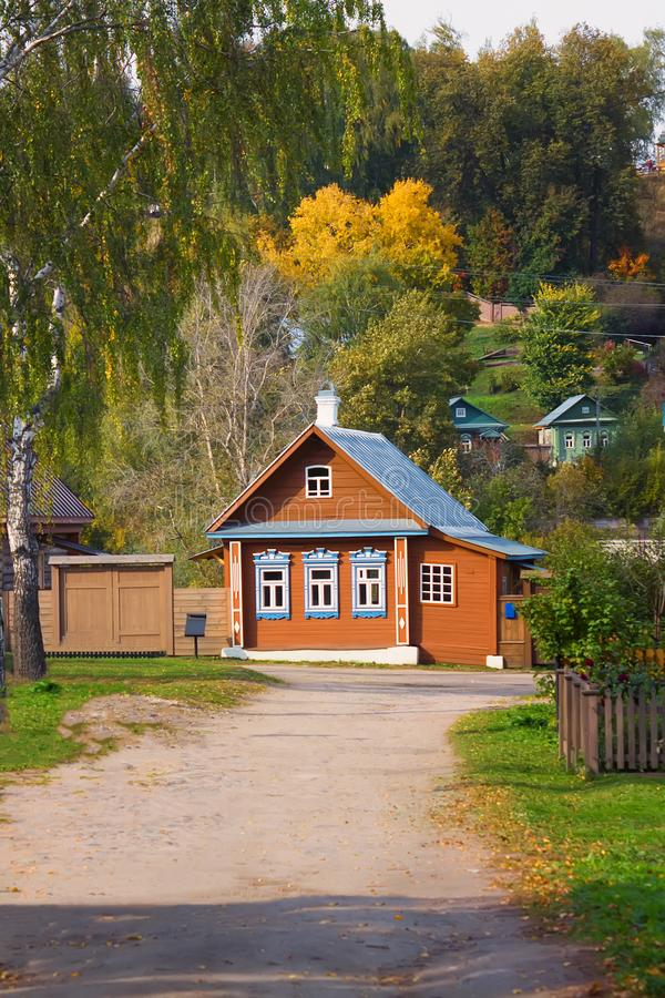 Scenery of Plyos town in Ivanovo Region in Russia. Tipical wooden house in russian style in autumn Plyos on a sunny afternoon, Russia, Ivanovo Region royalty free stock photo