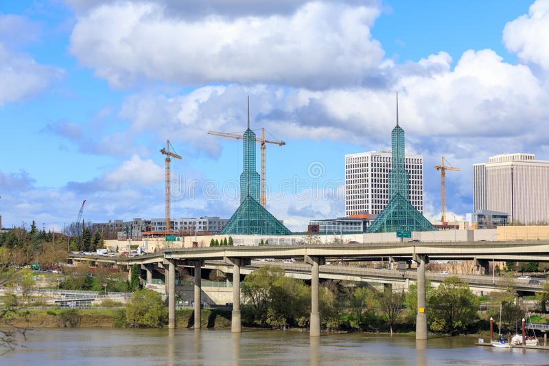 Scenery of Portland downtown with Oregon Convention Center. Portland, United States - Apr 10, 2018 : Oregon Convention Center, that is located on the east side stock image