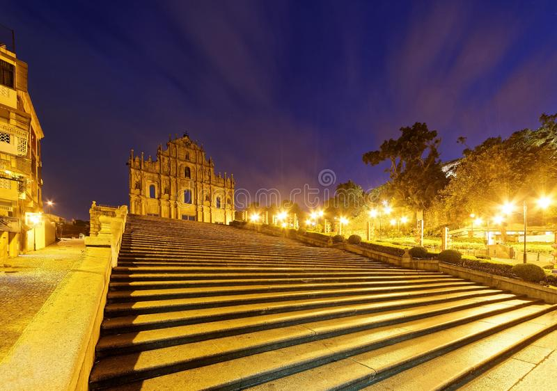 Scenery of the Ruins of St. Paul`s Church in the Historic Center of Macau, China. With a stairway leading to the beautiful facade of the historical stock photos