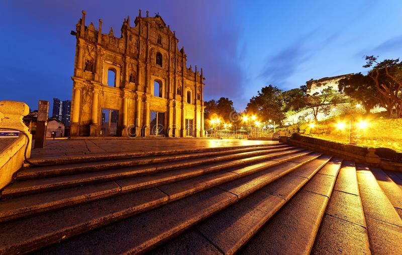 Scenery of the Ruins of St. Paul`s Church in the Historic Center of Macau, China. With stone steps leading to the beautiful facade of the historic architecture royalty free stock image