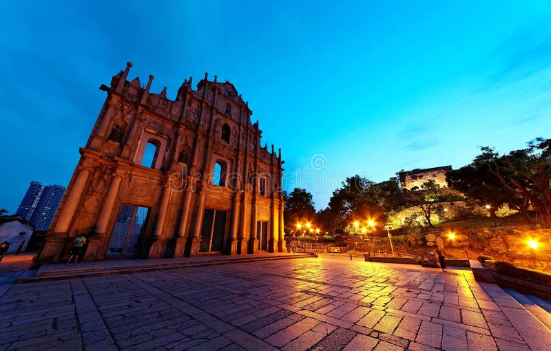 Scenery of the Ruins of St. Paul`s Church in the Historic Center of Macau, China. With a stairway leading to the beautiful facade of the historical stock images