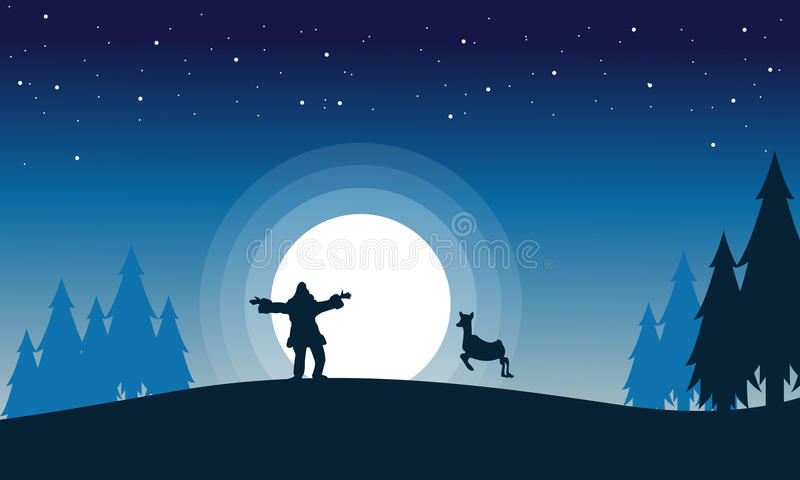 Scenery of Santa reindeer with big moon silhouettes royalty free illustration