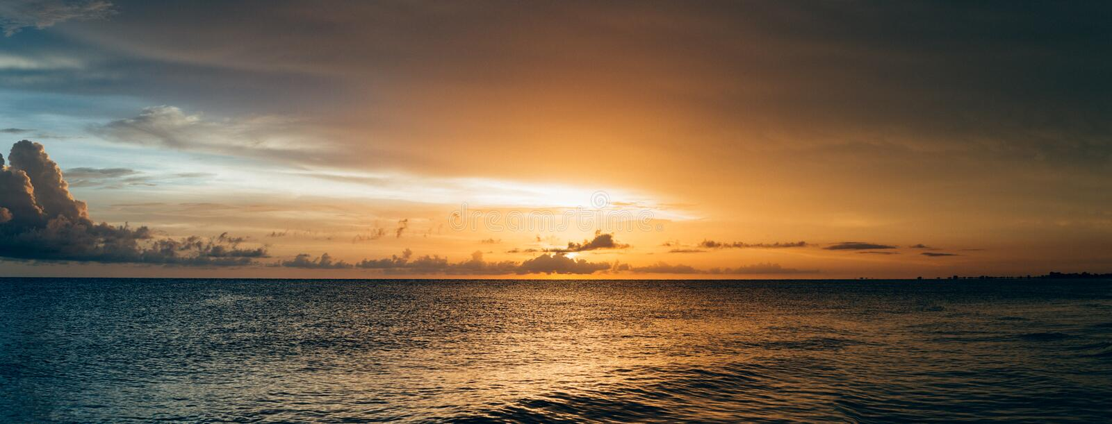 Scenery of Sea Water during Sunset stock image