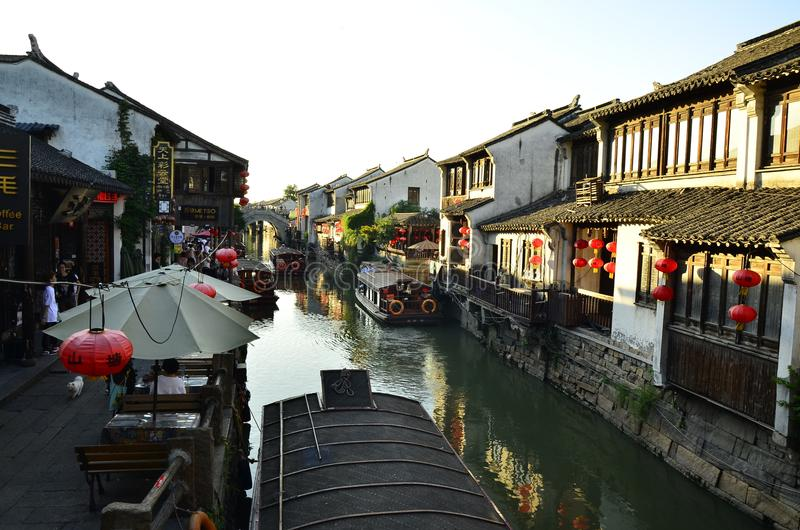 The scenery of Shantang street at Suzhou,China in spring. royalty free stock photography