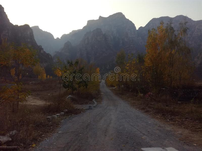 20191115 The scenery of Shidu scenic spot, Beijing, China. In November, 2019, it was photographed in Shidu, Beijing, China. Mountains and rivers stock photography