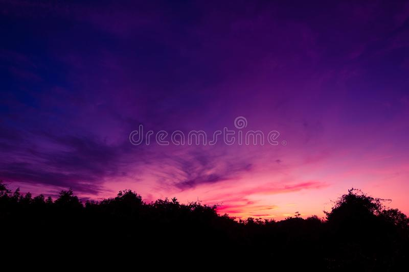 Scenery siluate of shadow of forest and sky in dusk. Scenery Silhouette of shadow of forest and sky in dusk background stock photos
