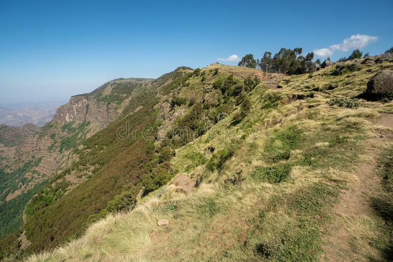 Scenery in the Simien Mountains Nationalpark in northern Ethiopia royalty free stock images