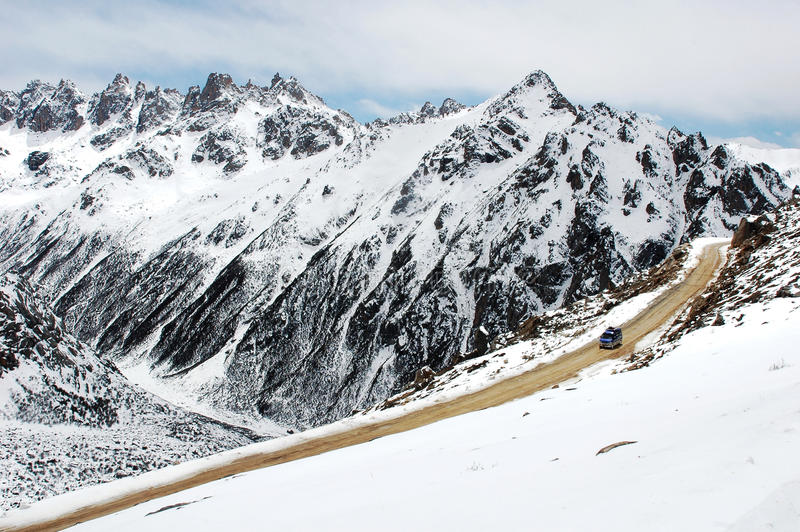 Download Scenery of snow mountains stock photo. Image of road - 12664718