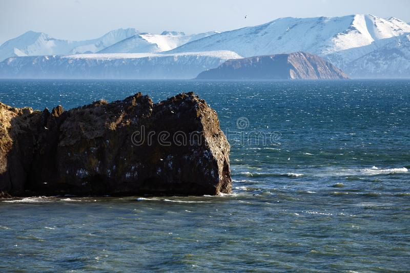 Scenery spring seascape - Pacific Coast of Russian Far East royalty free stock image