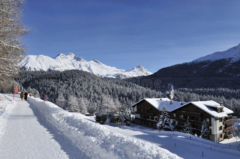 Scenery in St. Moritz. The winter scenery in the street Via Maistra - St. Moritz - Switzerland stock photos