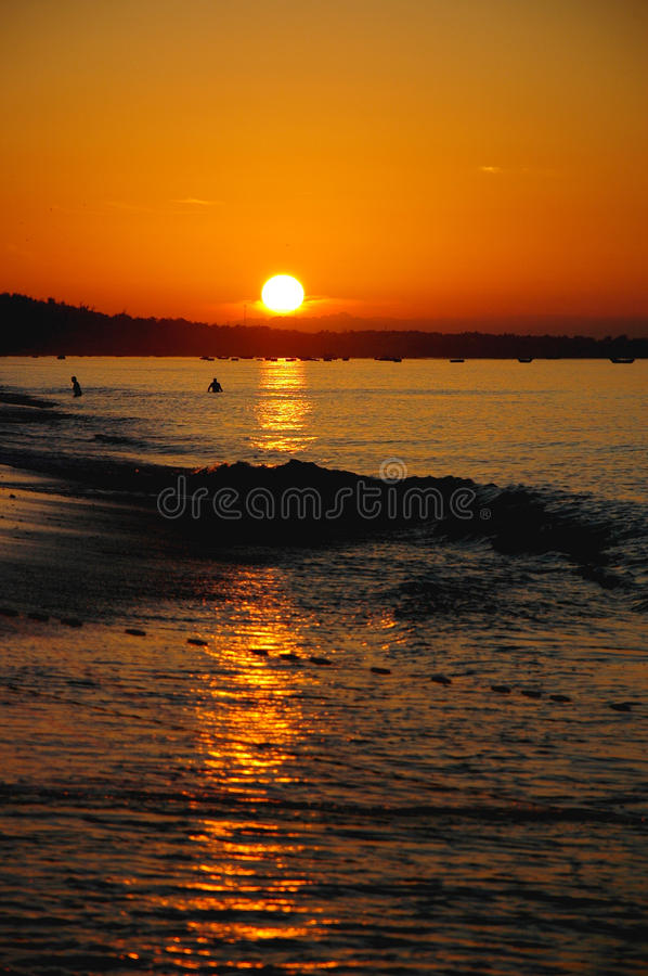 Scenery of sunrise on beach royalty free stock images