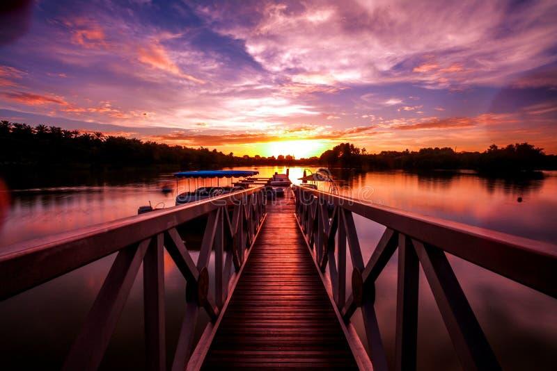 Scenery of sunset at putrajaya royalty free stock photography