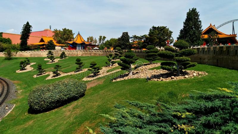 Scenery of a Thematic Park like China. China scenery in a thematic park in the south of Barcelona royalty free stock photography