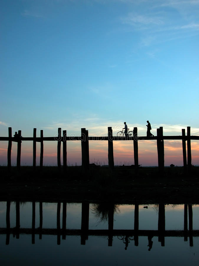 Scenery of Ubein Bridge. In Mandalay Myanmar. The scenes are absolutely fabulous stock images
