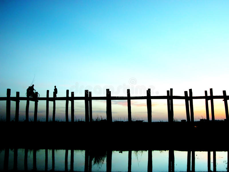Scenery of Ubein Bridge. In Mandalay Myanmar. The scenes are absolutely fabulous stock photography